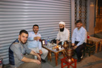A small cafe in Istanbul. Notice the samovar